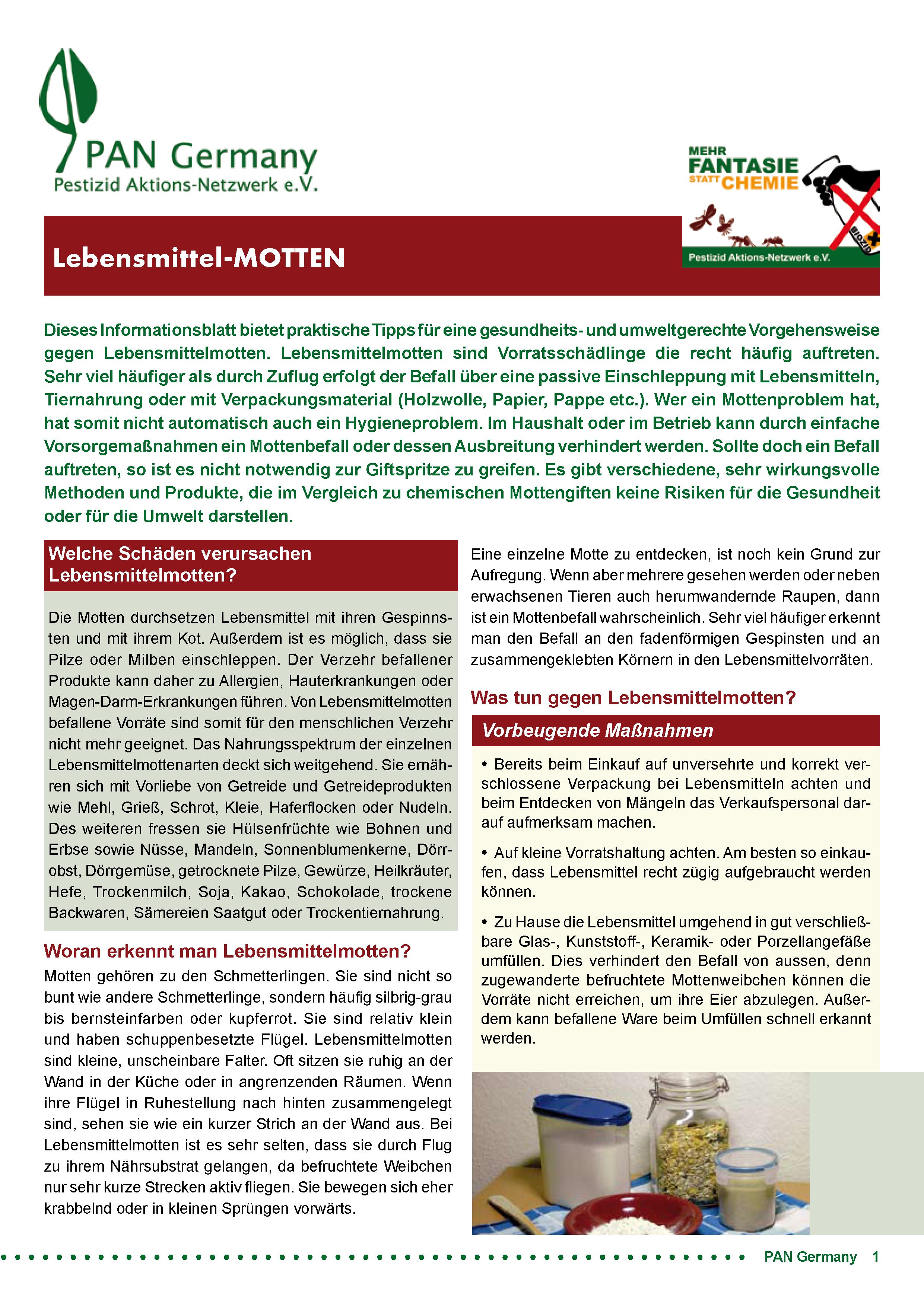 Cover Infoblatt Lebensmittelmotten