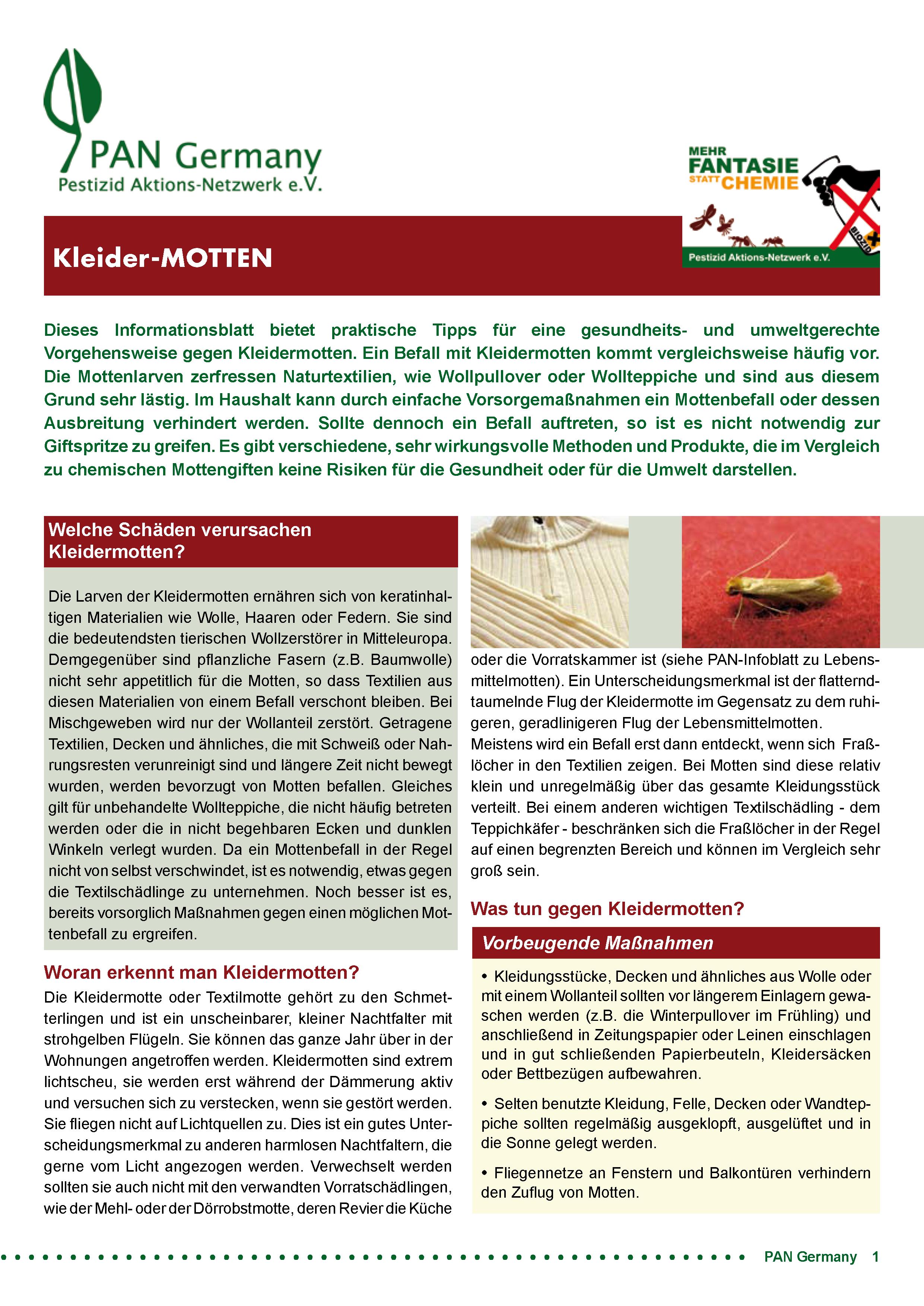 Cover Infoblatt Kleidermotten