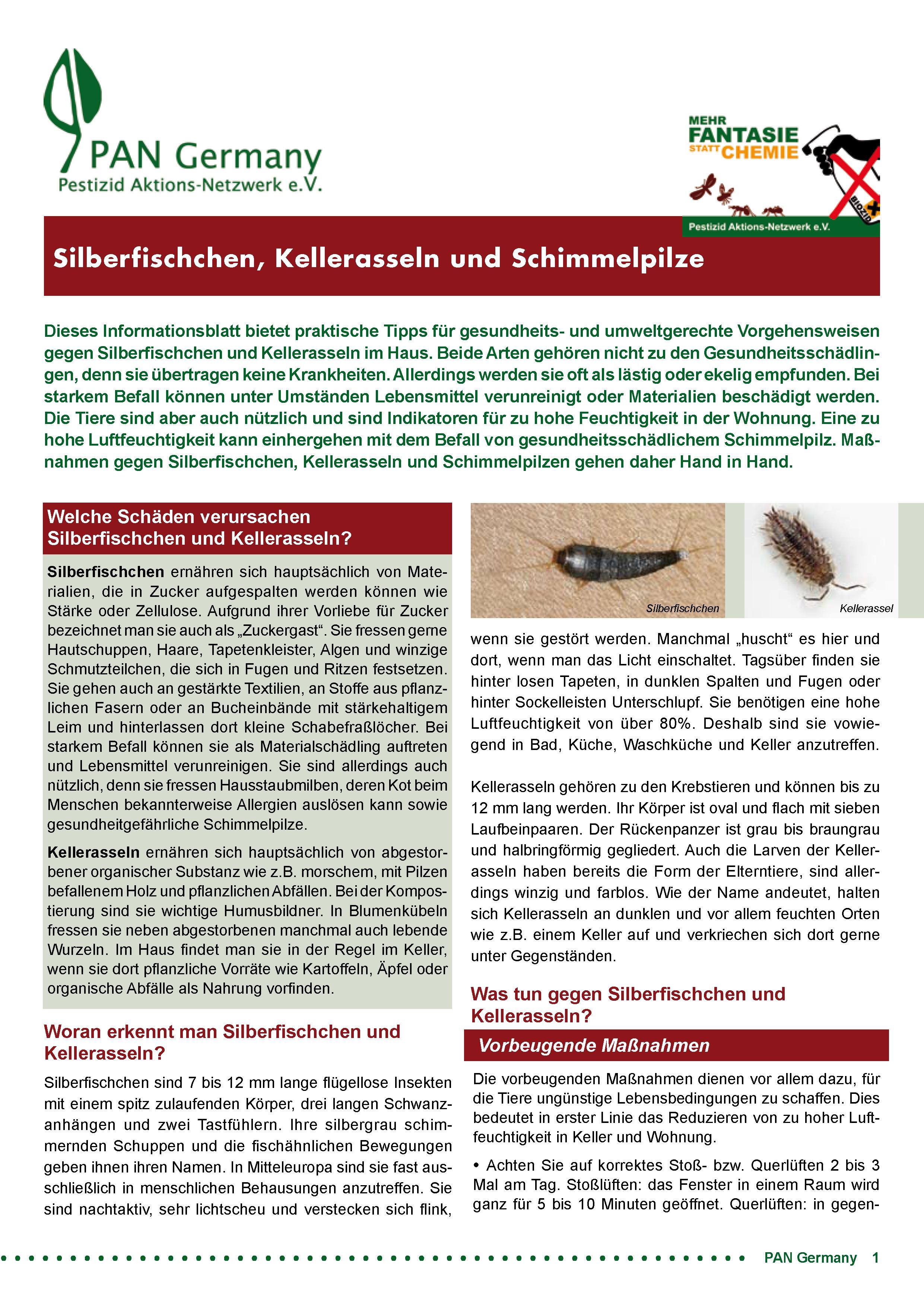 Cover Infoblatt Silberfischchen, Kellerasseln und Schimmelpilze