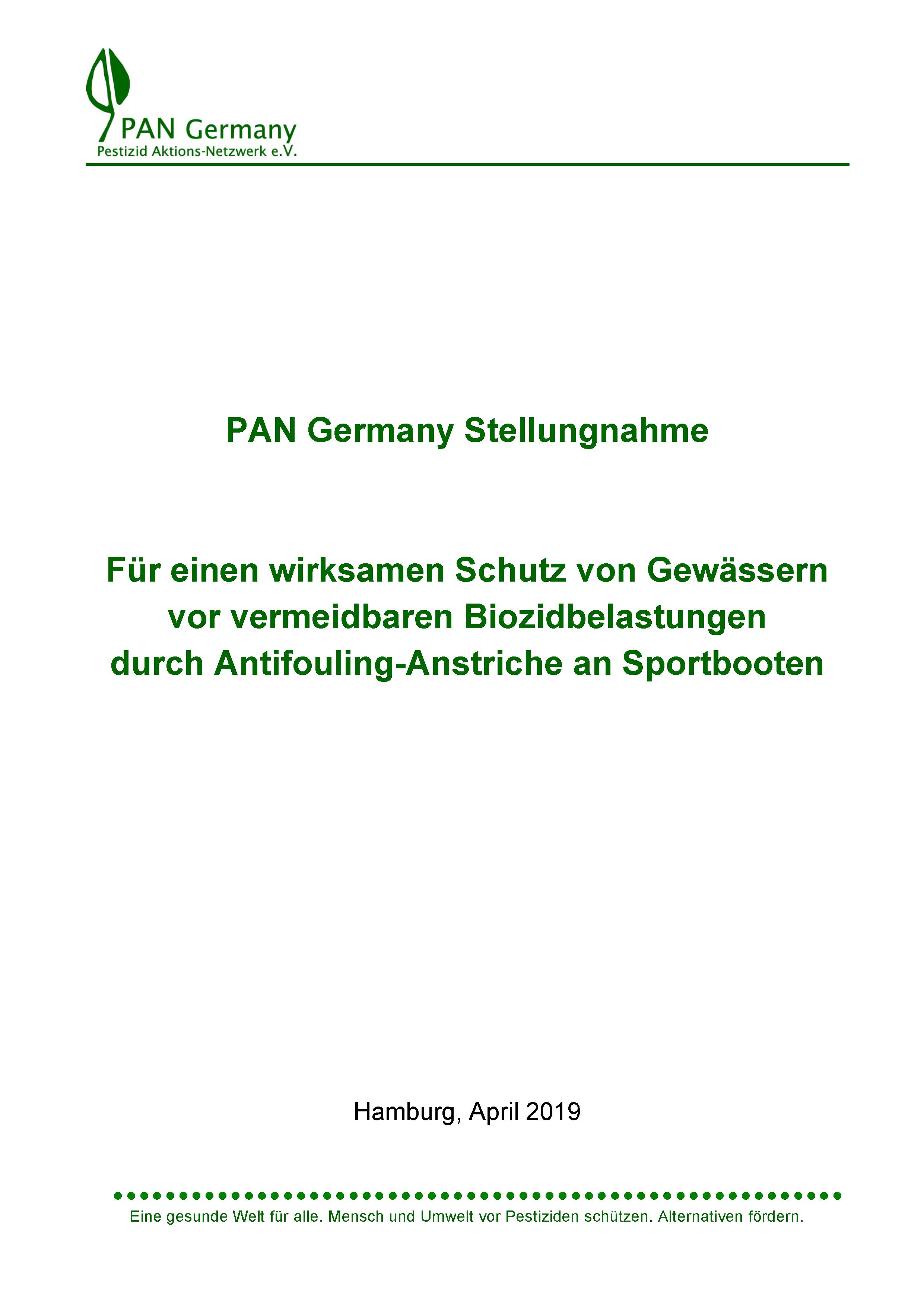 Titelbild der Antifouling-Stellungnahme