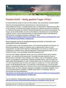 Cover FAQs Pestizid-Abdrift