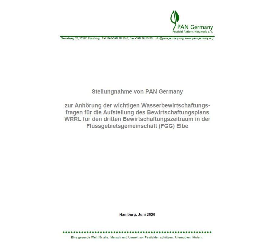 Stellungnahme: zur Anhörung der Wasserbewirtschaftungsfragen für die Aufstellung des Bewirtschaftungsplans WRRL für den dritten Bewirtschaftungszeitraum in der FGG Elbe