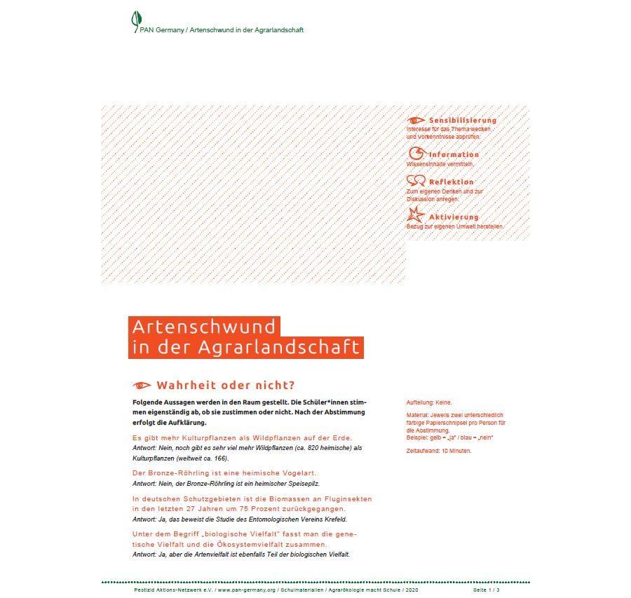 Methodenmappe - Artenschwund in der Agrarlandschaft