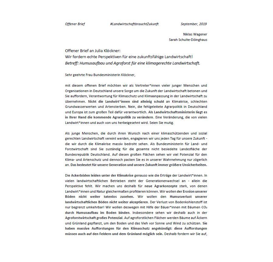 Offener Brief an Julia Klöckner: Wir fordern echte Perspektiven für eine zukunftsfähige Landwirtschaft!
