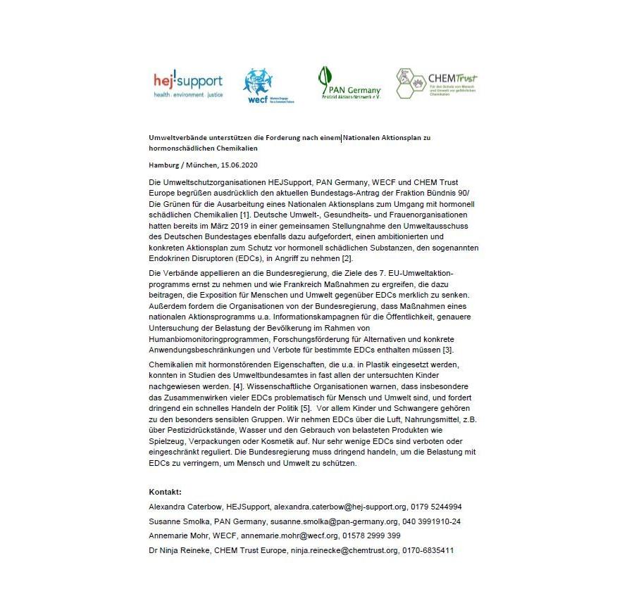 NGO-Statement: Forderung nach Nationalem Aktionsplan zu hormonschädlichen Chemikalien