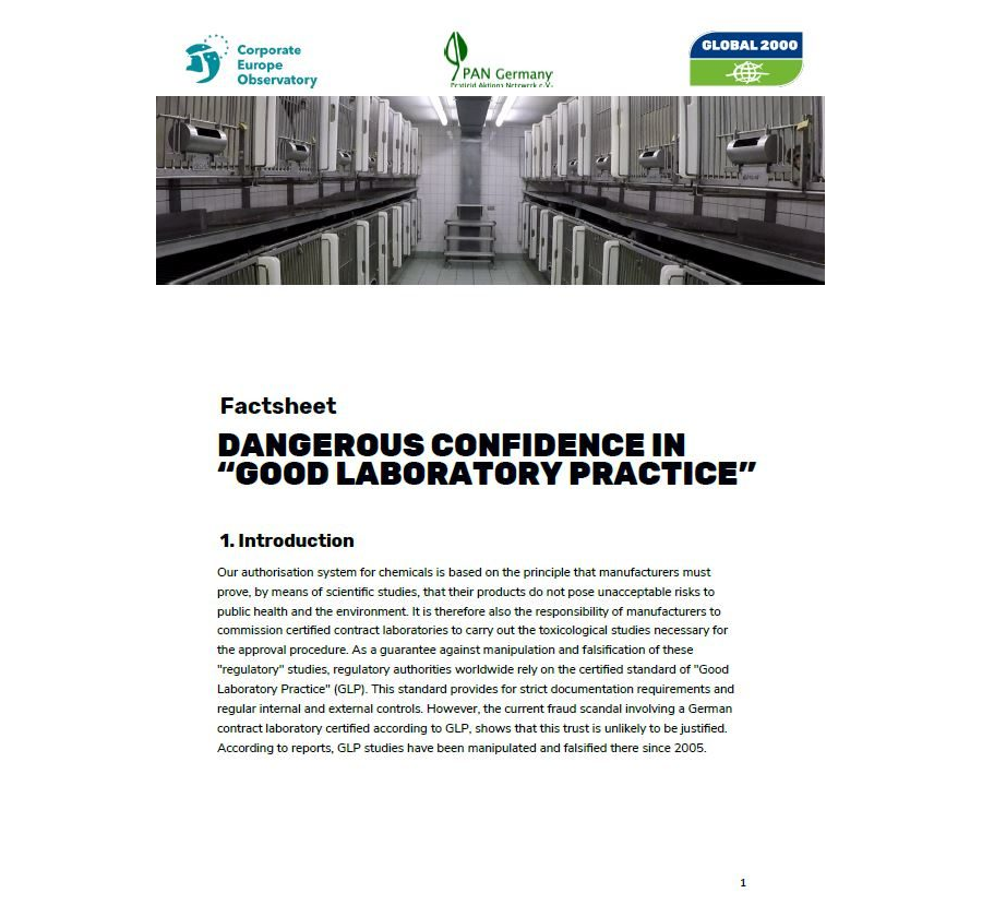 "Factsheet - DANGEROUS CONFIDENCE IN ""GOOD LABORATORY PRACTICE"""