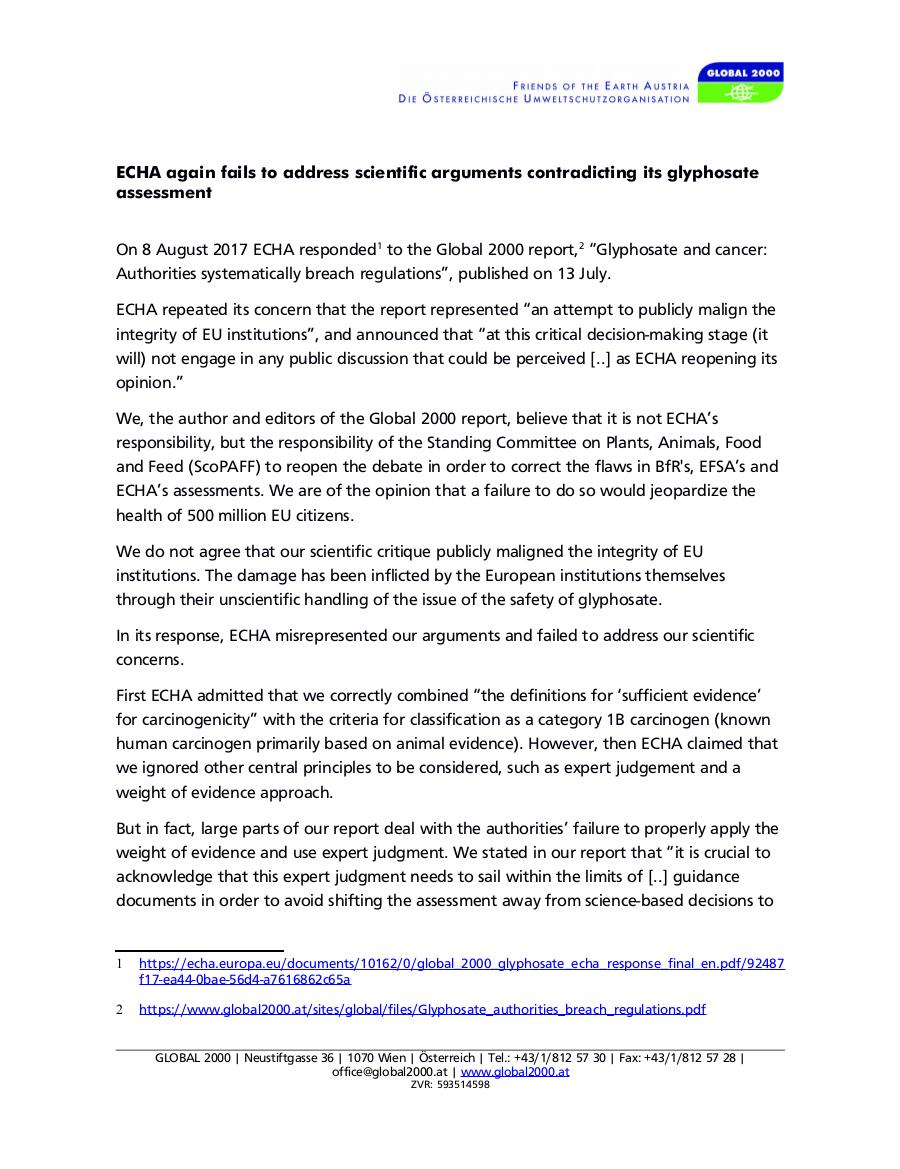 ECHA again fails to address scientific arguments contradicting its glyphosate assessment