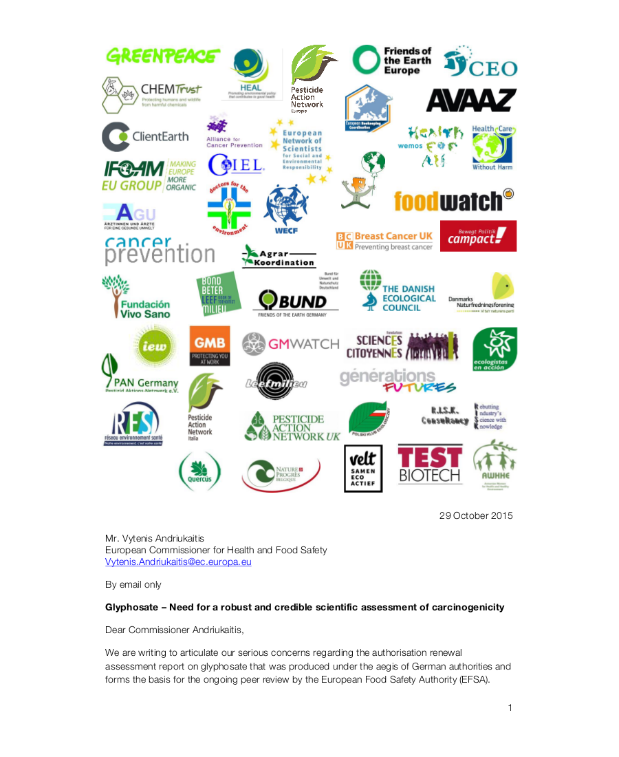 Glyphosate – Need for a robust and credible scientific assessment of carcinogenicity