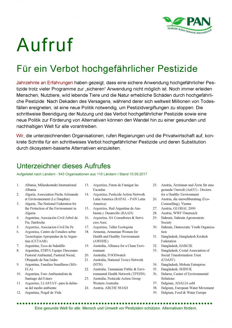 """Aufruf """"Für ein Verbot hochgefährlicher Pestizide"""""""