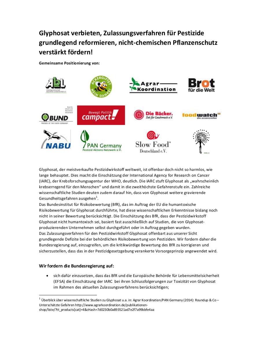 Glyphosat verbieten, Zulassungsverfahren für Pestizide grundlegend reformieren, nicht-chemischen Pflanzenschutz verstärkt fördern!