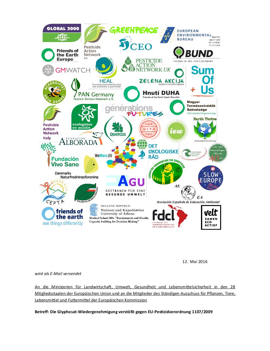 Offener Brief an EU Minister und Behörden: Glyphosat-Wiedergenehmigung verstößt gegen EU-Pestizidverordnung