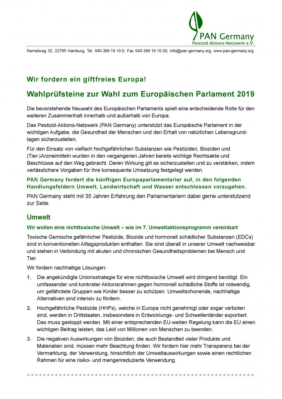 Wahlprüfsteine zur Wahl zum Europäischen Parlament 2019
