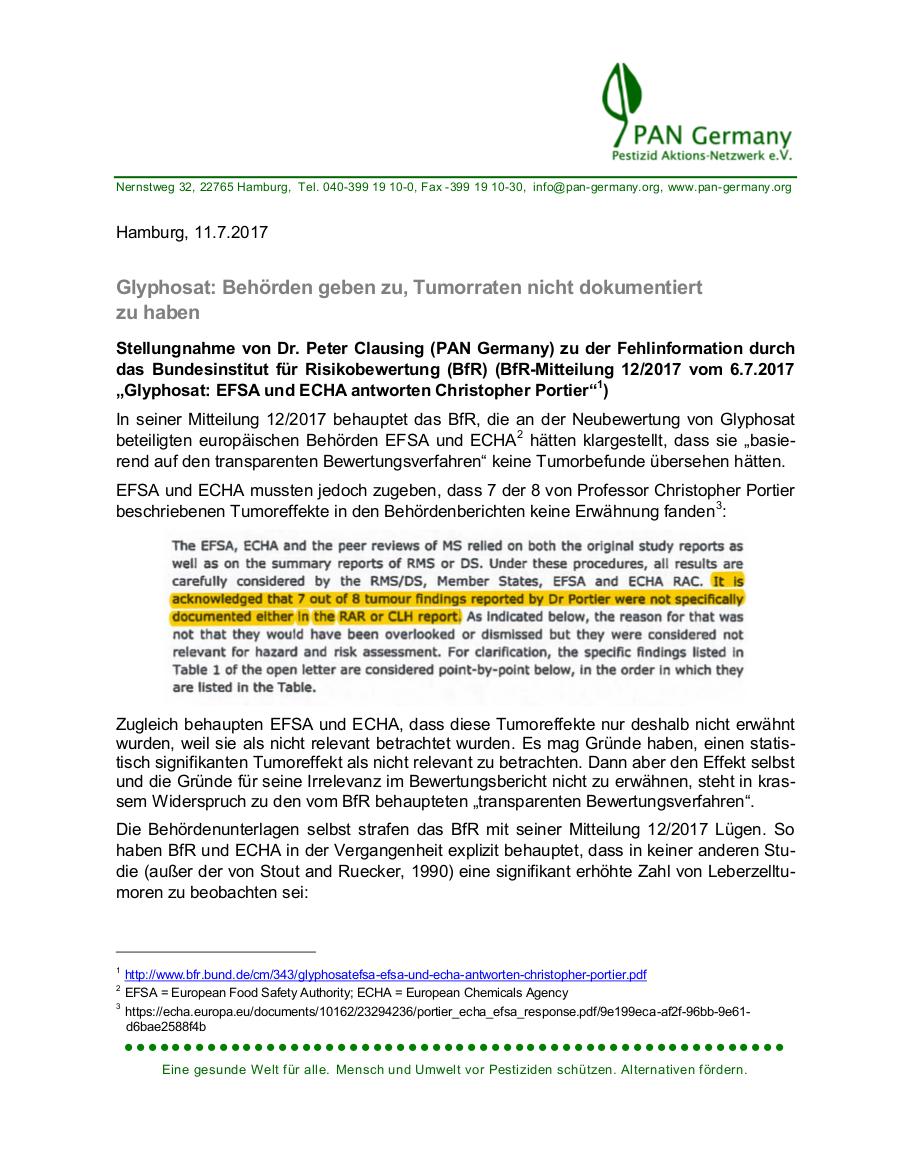 Glyphosat: Behörden geben zu, Tumorraten nicht dokumentiert zu haben