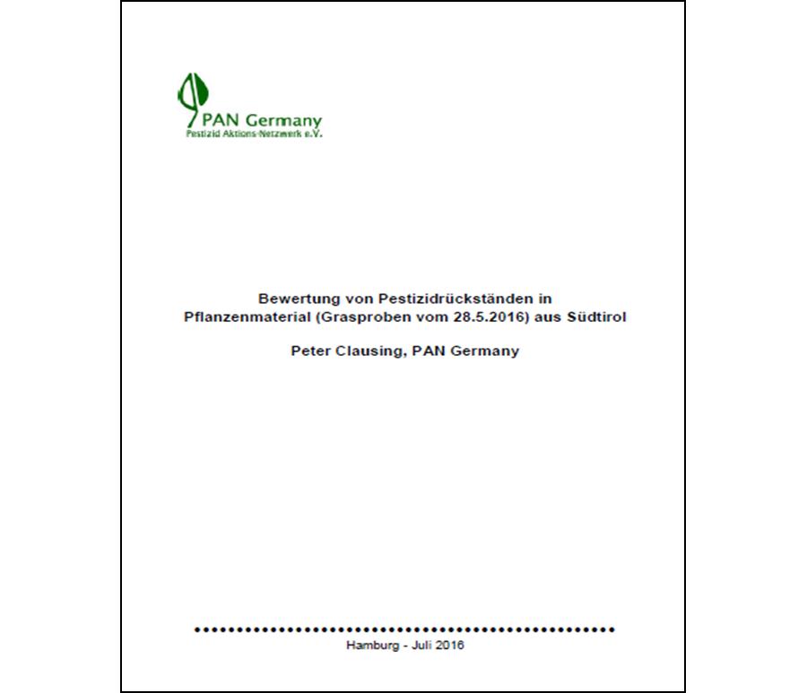 Bewertung von Pestizidrückständen in Pflanzenmaterial (Grasproben vom 28.5.2016) aus Südtirol