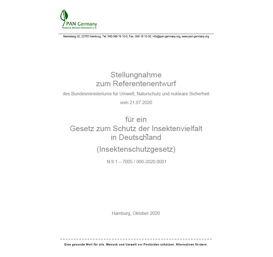 PAN Germany Stellungnahme zum Referententwurf für ein Insektenschutzgesetz