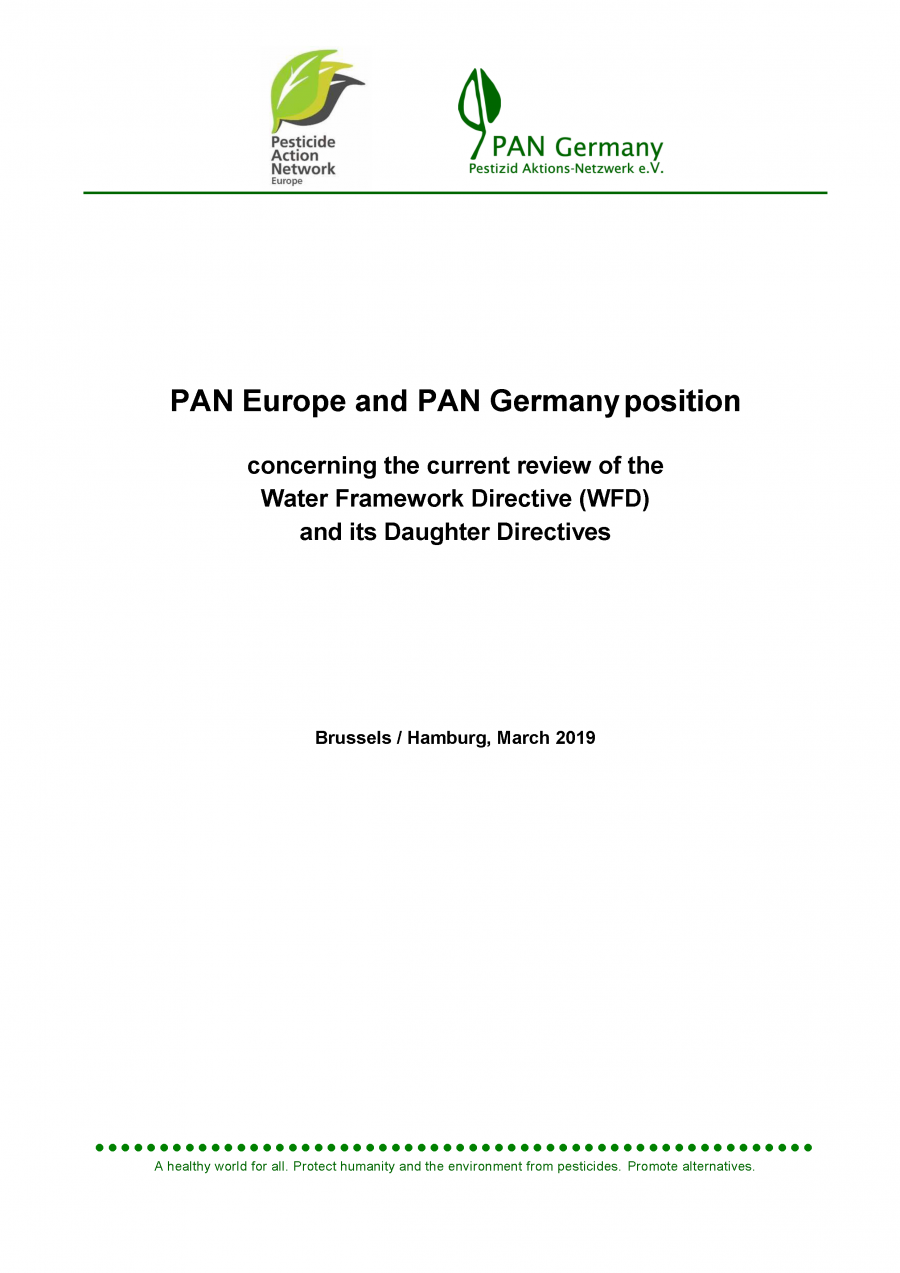 PAN Europe and PAN Germany position concerning the current review of the Water Framework Directive (WFD) and its Daughter Directives