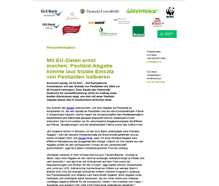 Presseinformation Mit EU-Zielen ernst machen: Pestizid-Abgabe könnte laut Studie Einsatz von Pestiziden halbieren