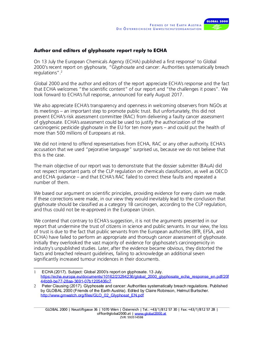 Author and editors of glyphosate report reply to ECHA