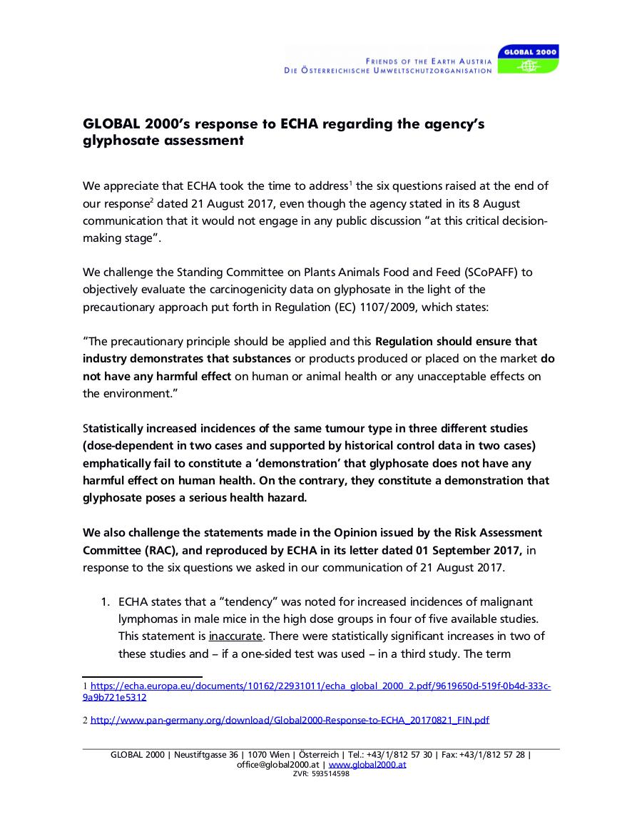 Kritik an ECHAs Antwort vom 1. September 2017