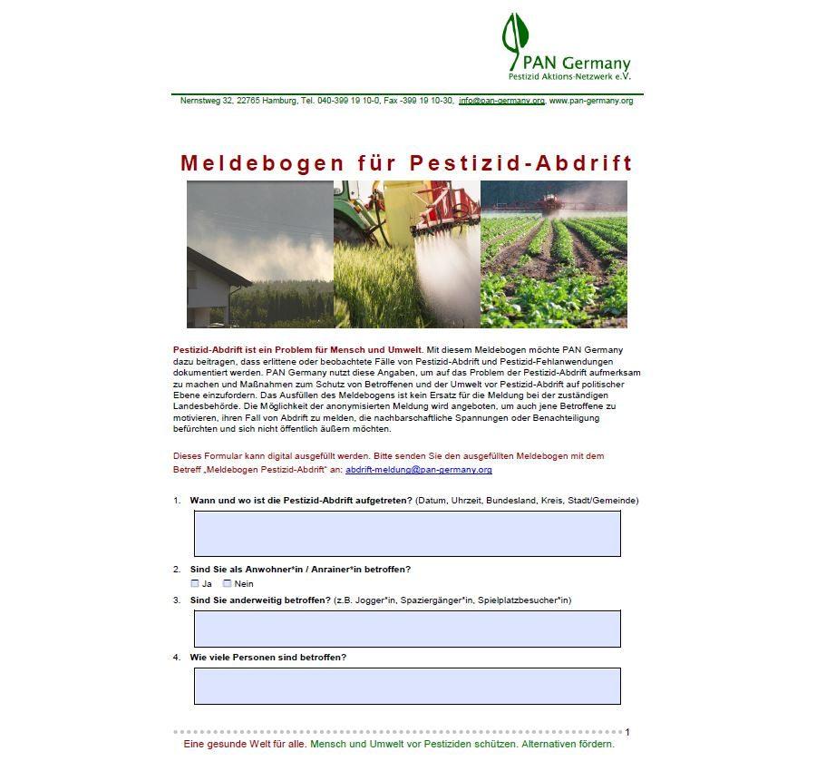 PAN Germany Meldebogen zu Pestizid-Abdrift
