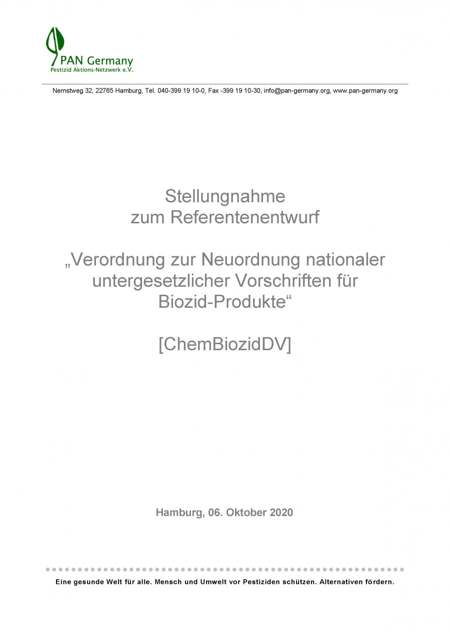 PAN Germany Stellungnahme zum Referentenentwurf der Biozid-Durchführungsverordnung (ChemBiozidDV), Oktober 2020