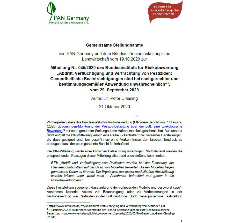 Gemeinsame Stellungnahme von PAN Germany und dem Bündnis für eine enkeltaugliche Landwirtschaft zur BfR-Mitteilung Nr. 045/2020 vom 29.09.2020