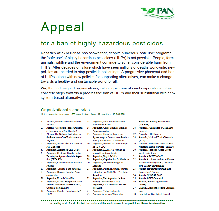 Appeal for a ban of highly hazardous pesticides