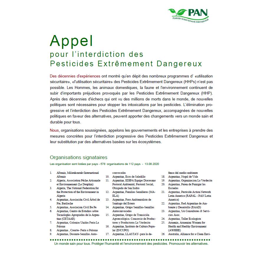 Appel pour l'interdiction des Pesticides Extrêmement Dangereux