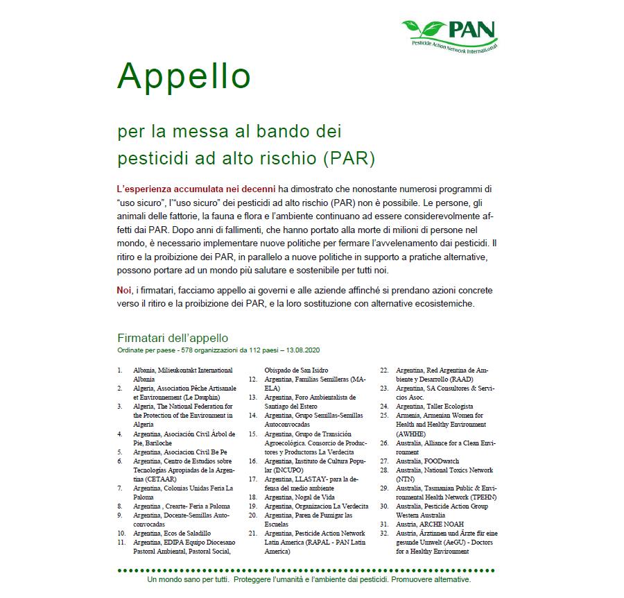 Appello per la messa al bando dei pesticidi ad alto rischio (PAR)