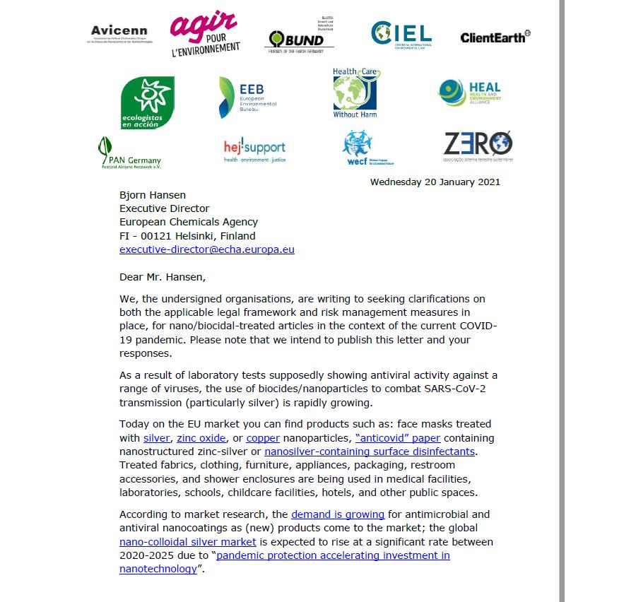 Offener Brief an die Europäische Chemikalienbehörde