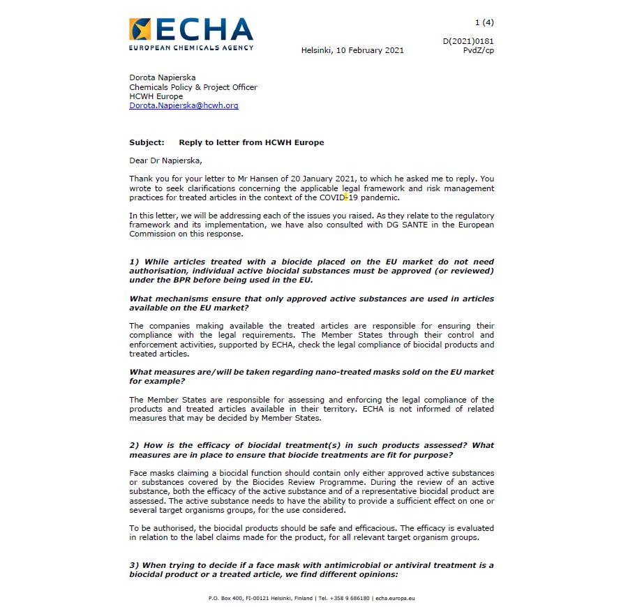Antwortschreiben der Europäischen Chemikalienbehörde ECHA
