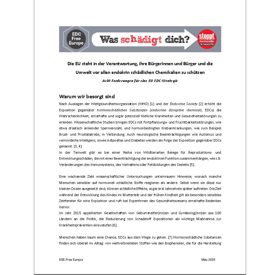 Acht Forderungen für eine EU EDC-Strategie