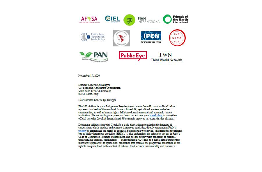 Offener Brief an die FAO unterzeichnet von 350 Organisationen
