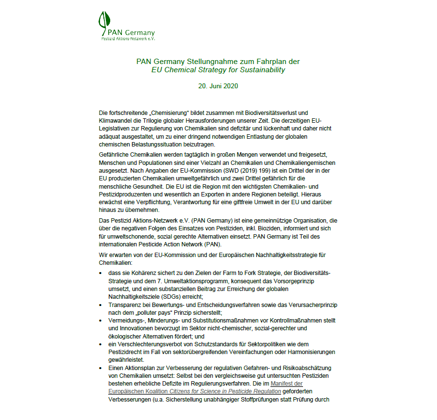 PAN Germany Stellungnahme zum Fahrplan der EU Chemical Strategy for Sustainability