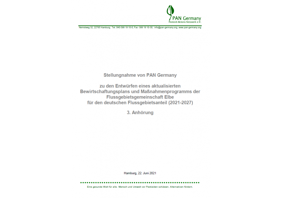 Stellungnahme zur dritten Bewirtschaftungsplanung der FGG Elbe im Zeitraum 2021-27