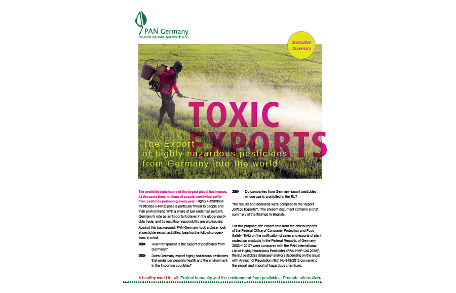 Toxic Exports - The export of highly hazardous pesticides from Germany into the world [Executive summary]