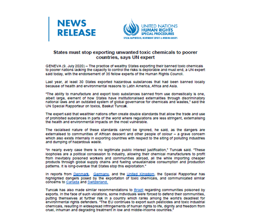 UN Press Release: States must stop exporting unwanted toxic chemicals to poorer countries, says UN expert