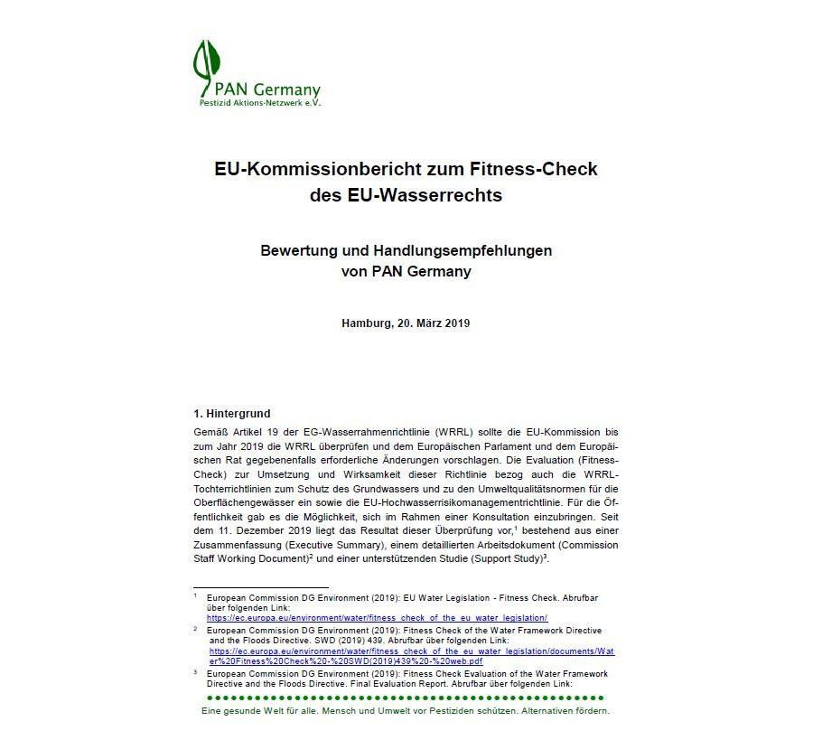 Handlungsempfehlungen von PAN Germany zum EU-Kommissionbericht zum Fitness-Check des EU-Wasserrechts