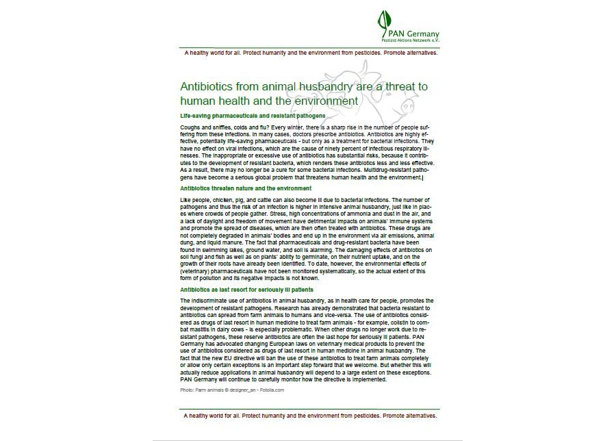 Antibiotics from animal husbandry are a threat to human health and the environment