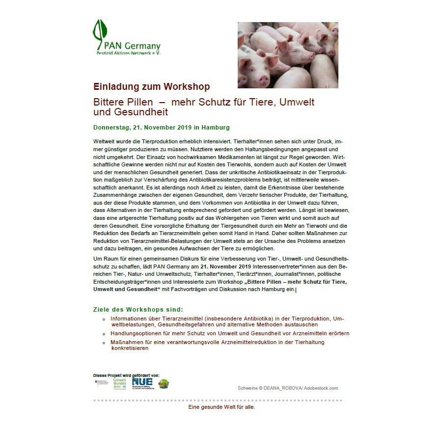 PAN Germany Workshop_Programm_Bittere Pillen – mehr Schutz für Tiere, Umwelt und Gesundheit