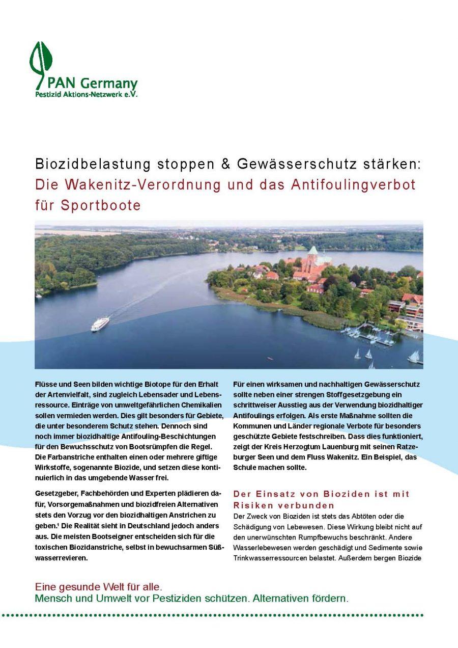 Biozidbelastung stoppen und Gewässerschutz stärken