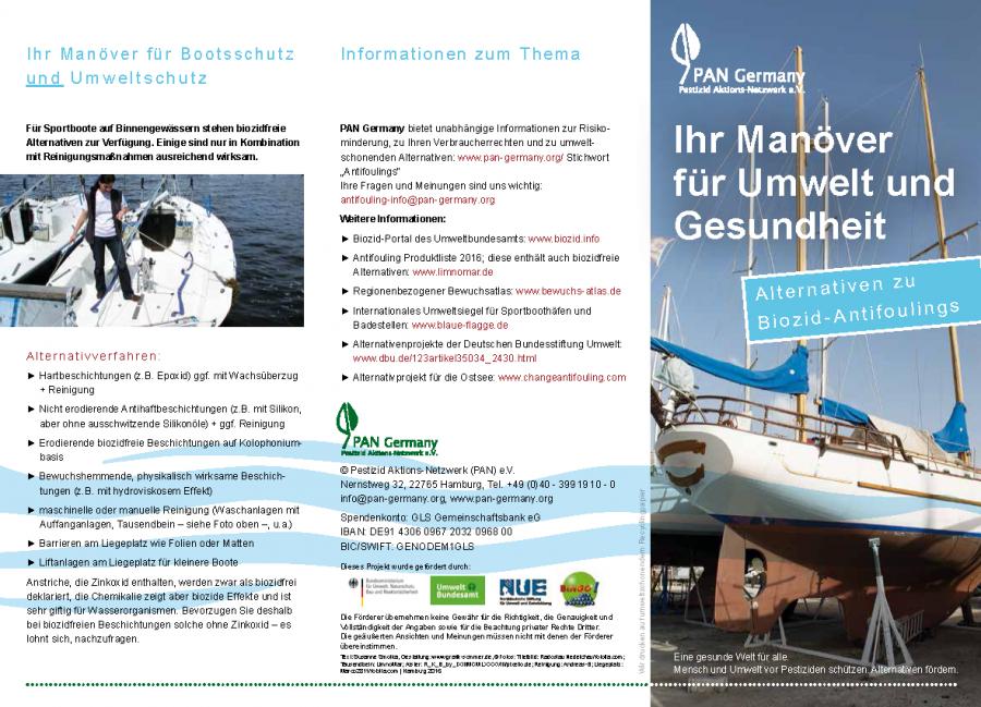 """PAN-Faltblatt: """"Ihr Manöver für Umwelt und Gesundheit: Alternativen zu Biozid-Antifoulings"""""""